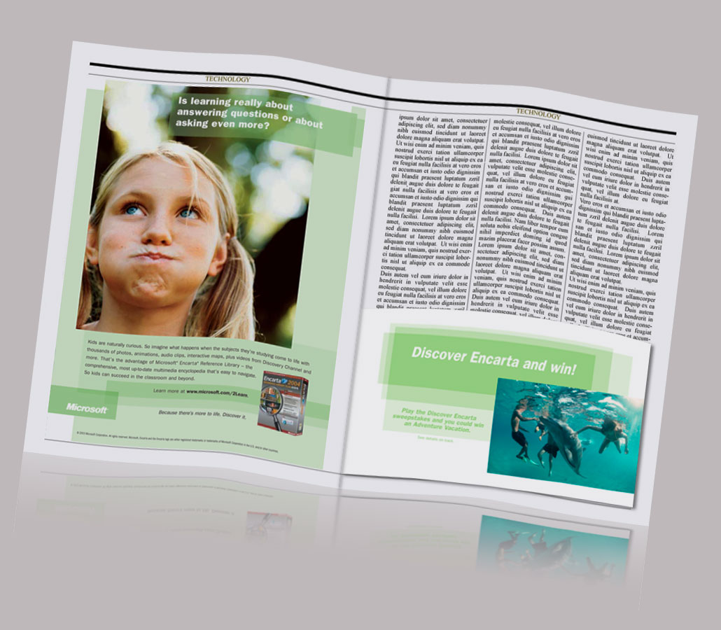 Encarta Magazine Ad and Sweepstakes Insert