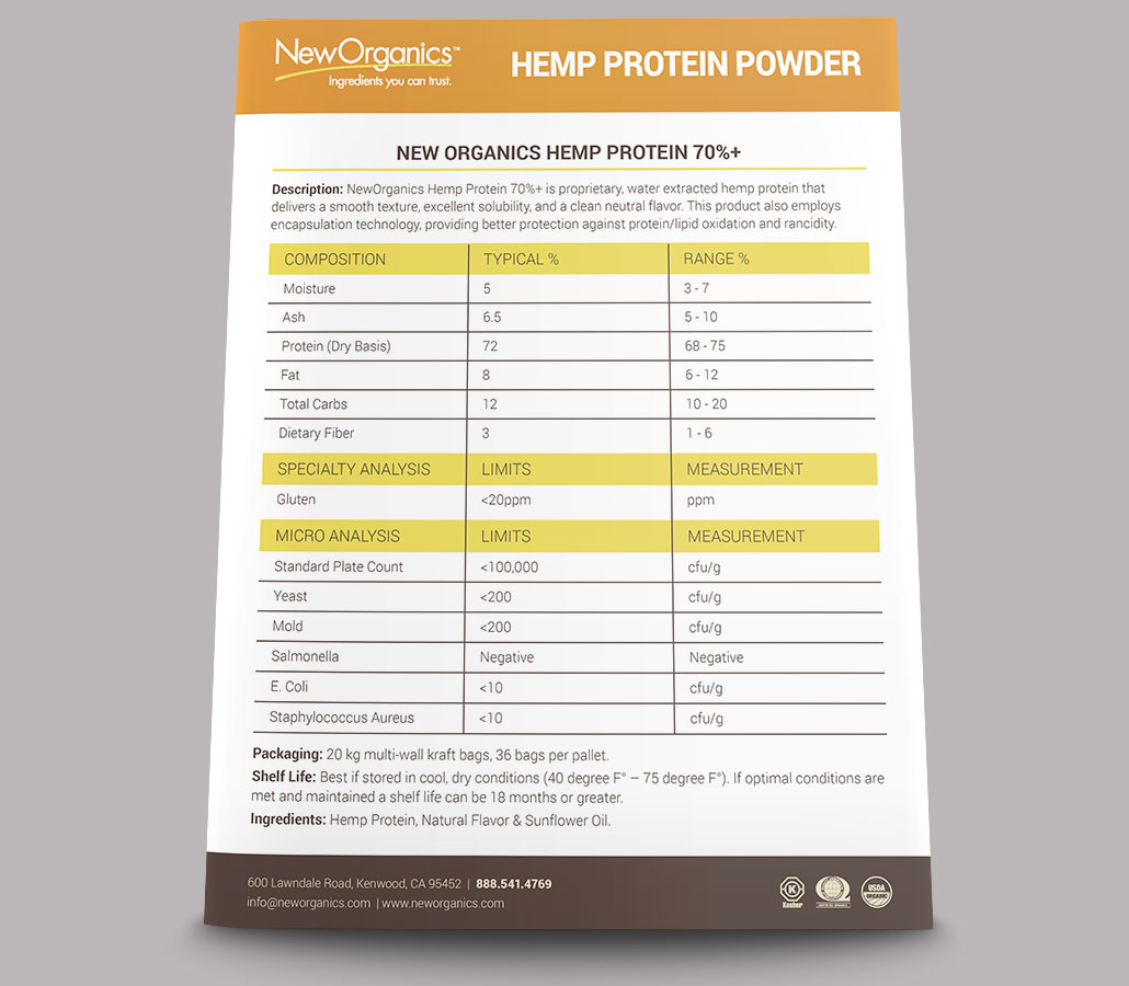 New Organics Hemp Protein Powder Sell Sheet - back view