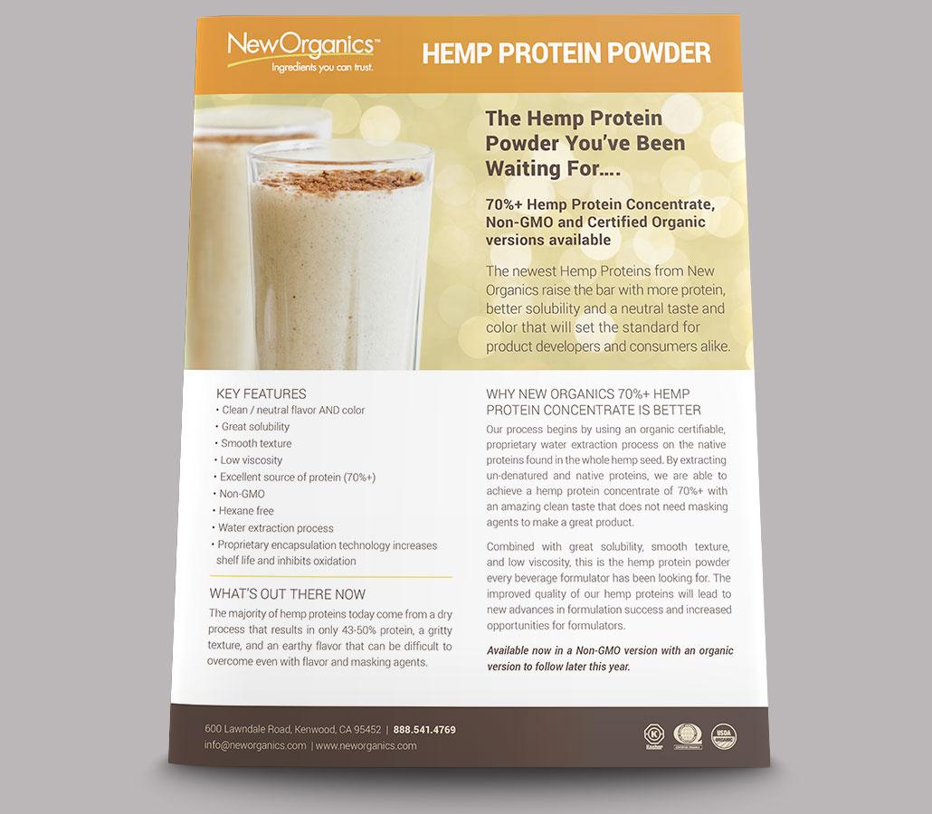 New Organics Hemp Protein Powder Sell Sheet - front view