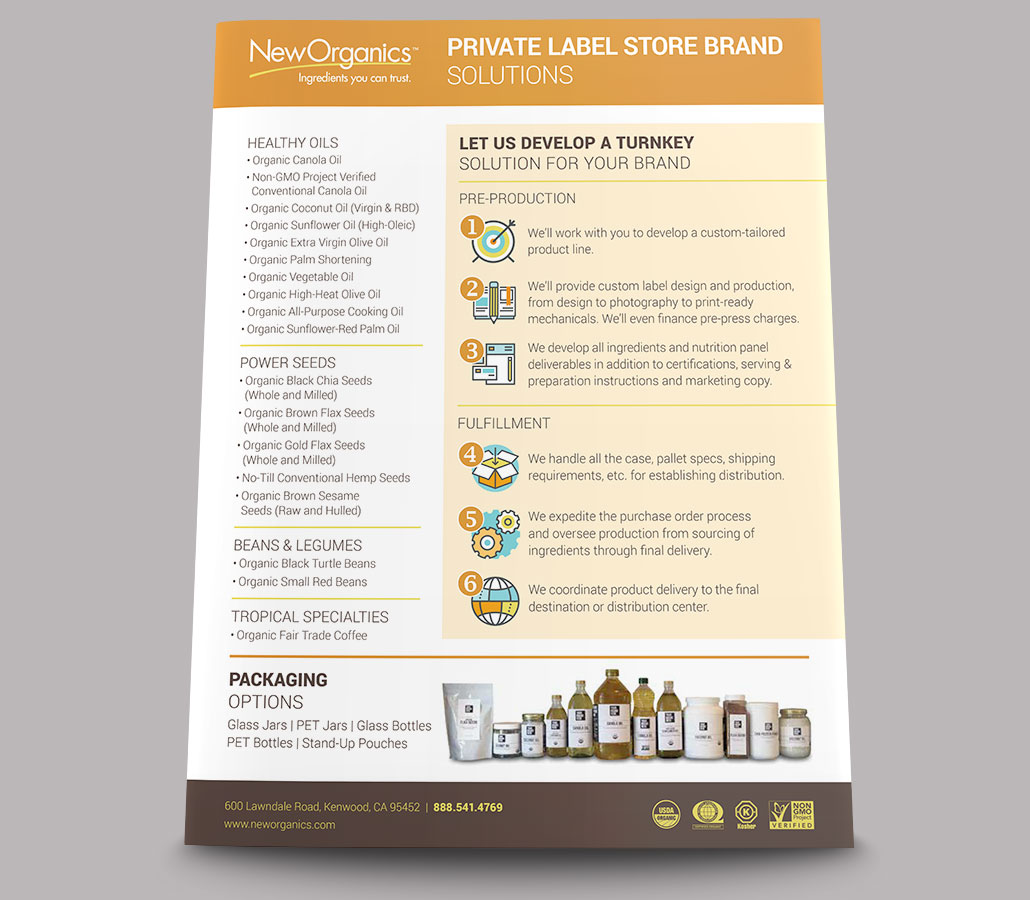 New Organics Private Label Sell Sheet - back view