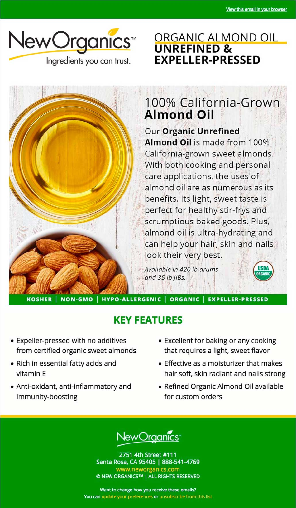 New Organics Organic Almond Oil Email